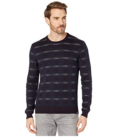 Perry Ellis Wool Blend Plaid Long Sleeve Sweater (Dark Sapphire) Men