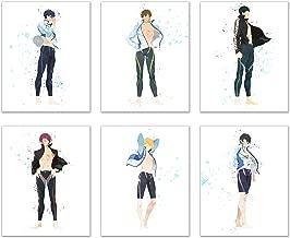 Watercolor Free!! Iwatobi Swim Club Prints - Set of 6 (8x10) Glossy Anime Wall Art Decor - Haruka Nanase (Haru) - Makoto Tachibana - Rin Matsuoka - Nagisa Hazuki - Rei Ryugazaki - Sosuke Yamazaki