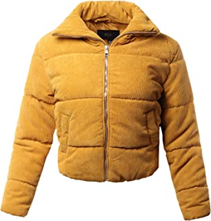 A2Y Women's Lightweight Faux Fur Hoodie High Neck Puffer Outerwear Jacket