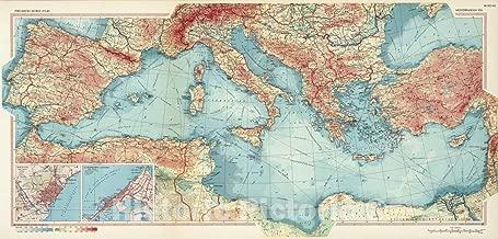 Historic Map - World Atlas - 1967 Mediterranean Sea. Pergamon World Atlas. - Vintage Wall Art - 44in x 21in