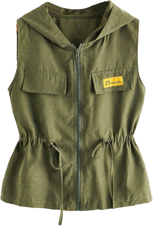 Romwe 67% OFF of fixed price Women's Casual Drawstring Waist Light Anorak Zip Up Import Jacket