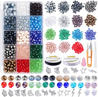 EuTengHao Glass Crystal Beads for Jewelry Making 1062Pcs Spacer Beads Faceted Glass Beads Kit with Pendant Jewelrt Finding...