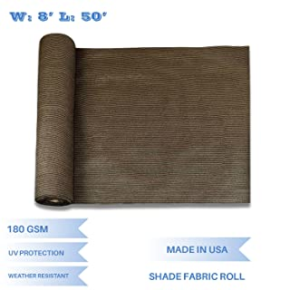 E&K Sunrise 8' x 50' Brown Sun Shade Fabric Sunblock Shade Cloth Roll, 95% UV Resistant Mesh Netting Cover for Outdoor,Backyard,Garden,Greenhouse,Barn,Plant (Customized