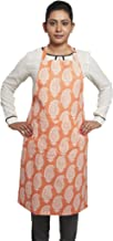 Amazon Brand - Solimo 100% Cotton Adjustable Kitchen Apron, Paisley (Orange)