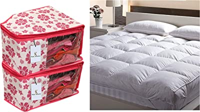 Kuber Industries 2 Piece Non Woven Blouse Cover Set, Pink & Soft Microfibre 500 GSM Mattress Padding/Topper for Comfortable Sleep -White -6Ft X 6.5Ft - King (72X78Inch), CTKTC13963 Combo