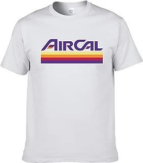 AIR Cal T-Shirt - Defunct Airline Logo - 100% Cotton Gildan Brand White Shirt