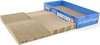 3 in 1 Cat Scratcher Cardboard Scratching Post with Catnip Scratch Lounge Toy Pad& Board,Two Pieces in One Box,  Kitten Bed for Large Medium Small Cats,  Furniture Savor