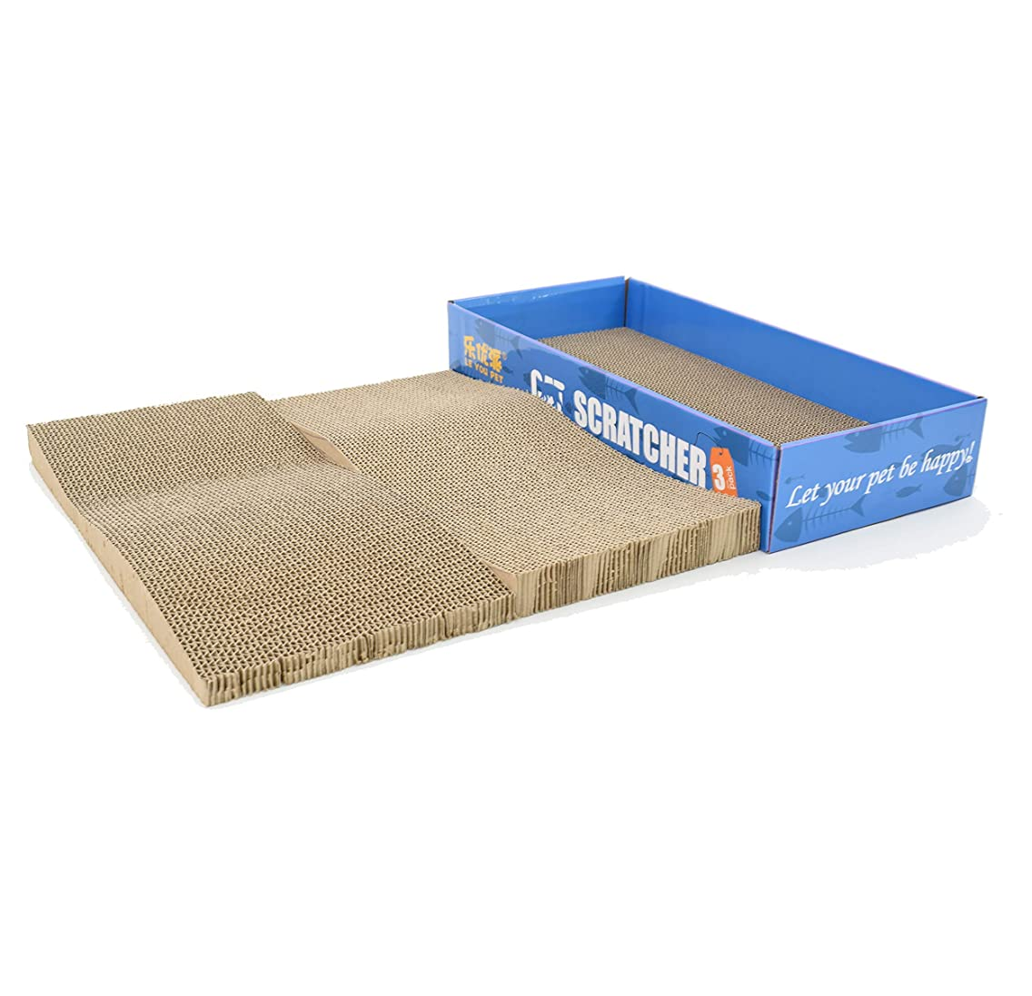 2 in 1 Cat Scratching Post with Catnip, Pad& Board,Two Packs in One Tray Package, Kitten Toy, Saving Space and Efficient, Easy Clean and Refill