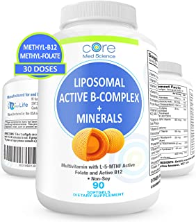 Liposomal Active Methylated B-Complex, Minerals, Antioxidants - Complete Multivitamin with Bioavailable Met...