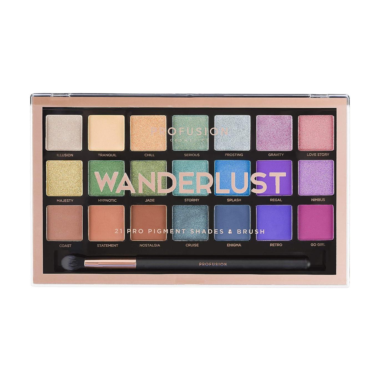 普及センチメートル合併Profusion Cosmetics 21シェードアイシャドーパレットコレクション&ブラシ, Wanderlust