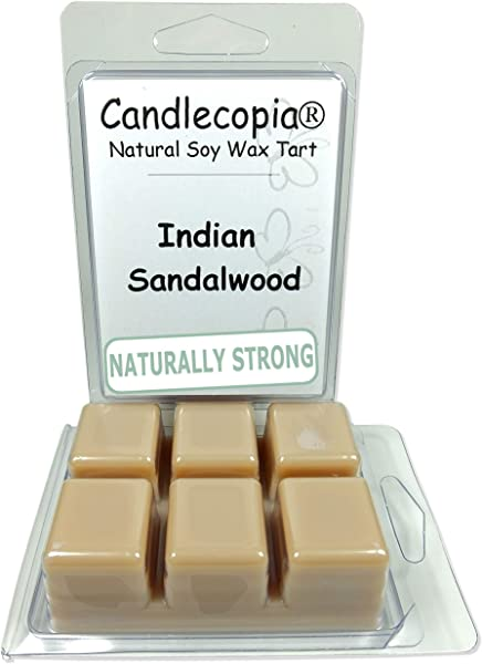 Candlecopia Indian Sandalwood Strongly Scented Hand Poured Vegan Wax Melts 12 Scented Wax Cubes 6 4 Ounces In 2 X 6 Packs