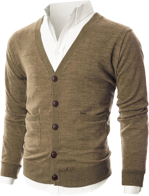 048c2519f Ohoo Mens Mens Mens Slim Fit Ribbed Knit Cardigan With Pockets  DCC023LIGHTBROWNL b0e8ba
