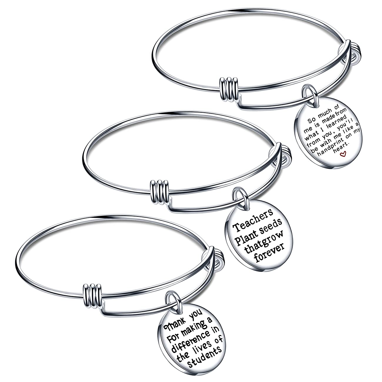 lauhonmin Teacher Appreciation Gifts Expendable Inspirational Bangle Bracelet Set Stainless Steel 3PCS