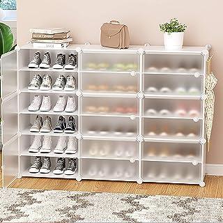 Multi-Porte-Chaussures Couche,Armoires De Rangement De Chaussures Autoportantes Avec étagères Réglables Et Porte Transpare...