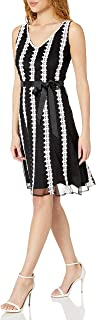 S.L. Fashions Women's Lace Strapping Mesh Dress with Belt