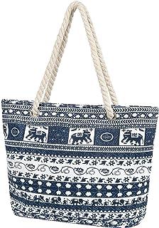 Taumie Große Strandtasche mit Reißverschluss, Damen XXL Familie Segeltuch Umhängetasche, Shopper Schultertasche Beach Bag,...