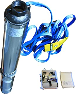 """Hallmark Industries MA0419X-12AEXT Pump, 4"""" Deep Well Submersible, 2 hp, 230VAC/60Hz/1Ph, 35 GPM Max, Stainless Steel, with Control Box, Stainless Steel"""