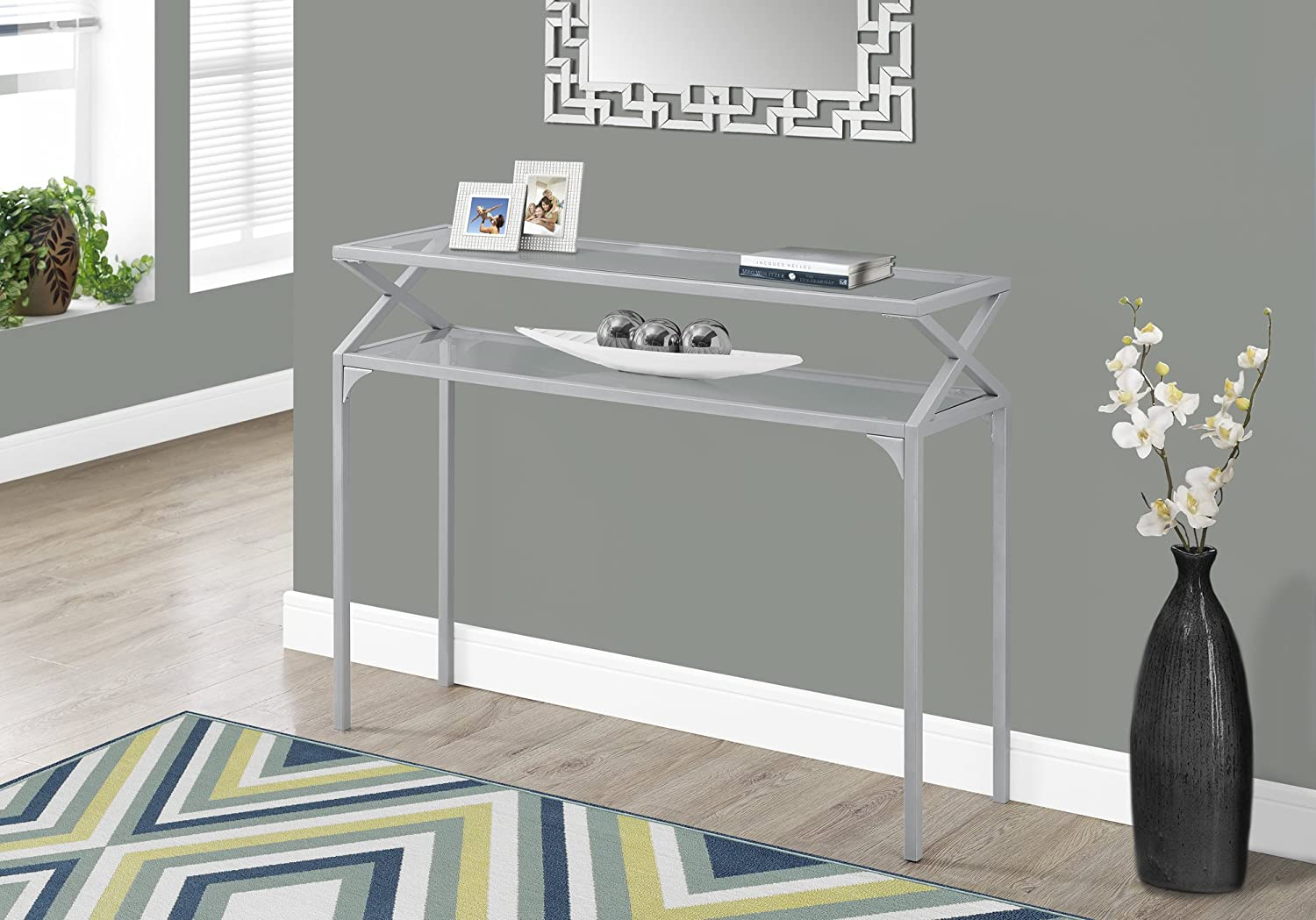 Monarch Specialties I 2115 Accent Table-42 L Silver Metal Hall Console