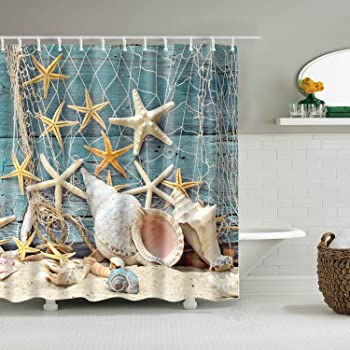12 Hooks Beach Starfish Waterproof Bath Shower Curtain Bathroom Washroom Panel