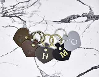 Leather Heart Keychain with Initial. Personalized Key fob. Monogrammed Full Grain Leather key chain. Made in USA. Home Decor/Organization