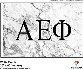 Pro-Graphx Alpha Epsilon Phi Greek Sorority & Fraternity Flag Officially Licensed, Tapestry, Display Banner, Sign, Letter Pattern Large Decor - 3 feet x 5 feet - White Marble