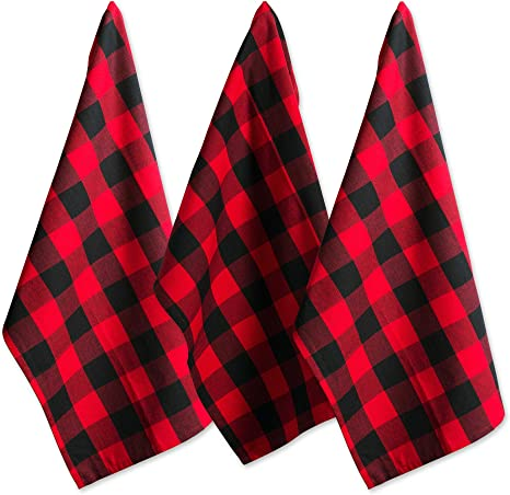 Amazon Com Dii Cotton Buffalo Check Plaid Dish Towels 20x30 Set Of 3 Monogrammable Oversized Kitchen Towels For Drying Cleaning Cooking Baking Red Black Home Kitchen