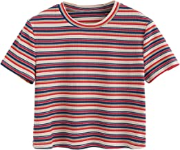 SweatyRocks Women's Short Sleeve Striped Crop T-Shirt Casual Tee Tops