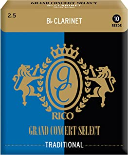 Rico Grand Concert Select Traditional Bb Clarinet Reeds, Strength 2.5, 10-pack