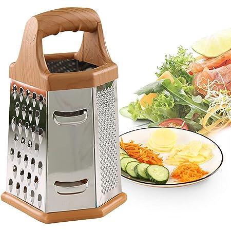 YAVO-EU Râpe 6 côtés Trancheuse À Fromage Légumes Acier Inoxydable Râpe à Usage Multiple Filamenteux Petites et Grosses lamelles