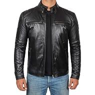 Cafe Racer Mens Leather Jacket -... Cafe Racer Mens Leather Jacket - Black Real Lambskin Motorcycle Leather Jackets for Mens