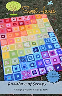 Rainbow of Scraps Quilt Pattern, Scrap, Fat Quarter, 1/8 and 1/4 Yard Cut Friendly, Four Finished Sizes