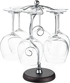 Artistic Elegant 6 Hook Silver Chrome Tone Metal Wine Glass Holder Stand Stemware Rack Air Drying System Tree Display