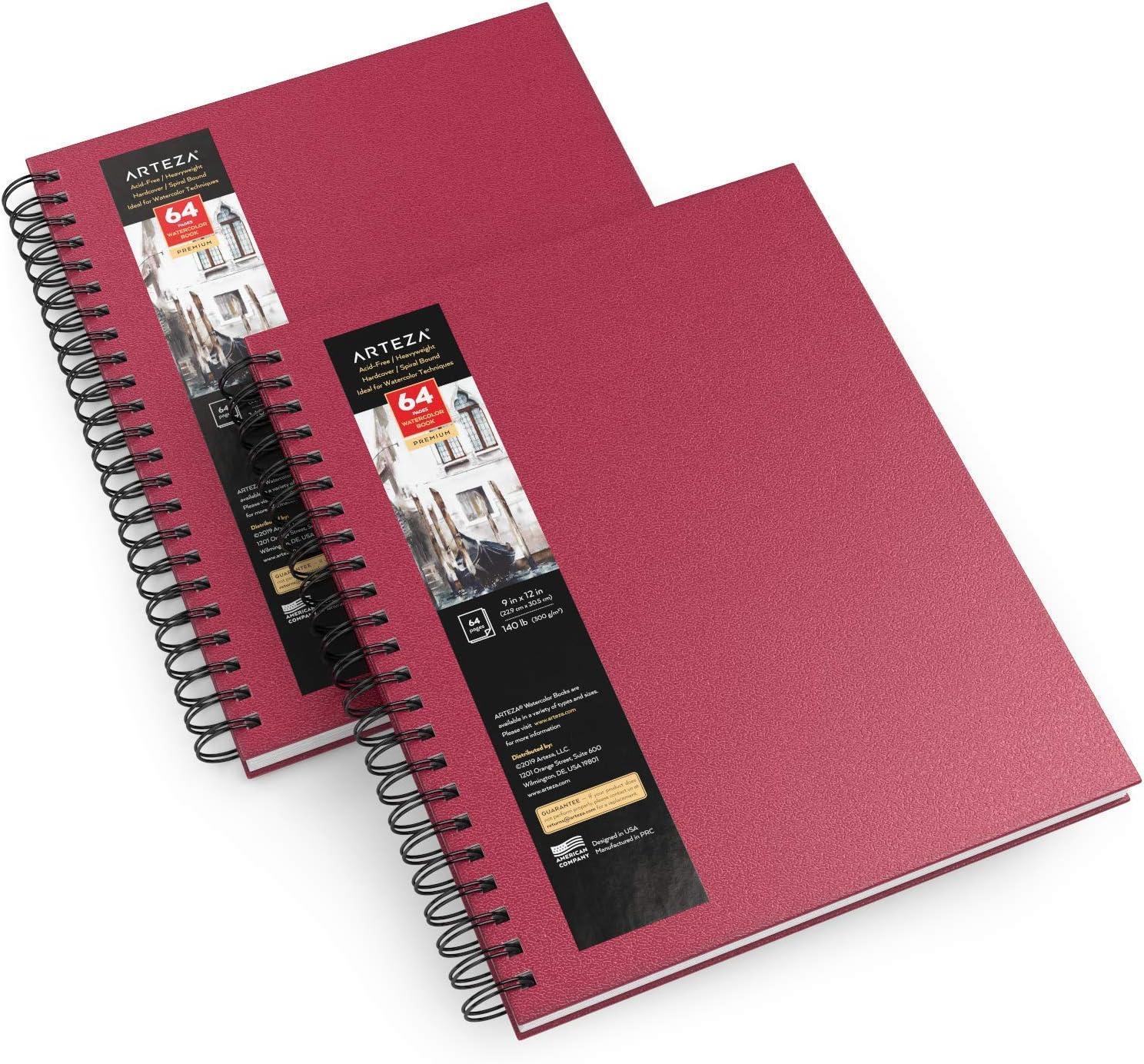 """Arteza Cuadernos de acuarela, 9x12"""" (22,9x30,5 cm), pack 2 diarios tapa dura color rosa, 64 hojas, papel acuarela 300 gsm, bloc espiral, también para gouache, acrílico, lápiz, medios húmedos y secos"""