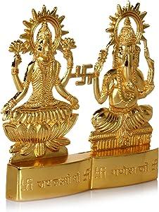 Hashcart (3Pulgadas Chapado en Oro hindú Dios Laxmi Juego de Ganesh Estatua Idol Murti para Pooja/decoración del hogar/Regalo