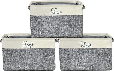 Sorbus - Juego de cestas de almacenamiento (3 unidades, tamaño grande, 15 x 10 x 9, Live Laugh and Love, tamaño grande, recta