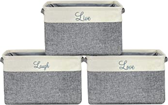 """Sorbus Collapsible Storage Basket Bin Set,""""Live"""",""""Laugh"""" and""""Love"""" Twill Storage Basket Organizer Bins with Carry Handles ..."""