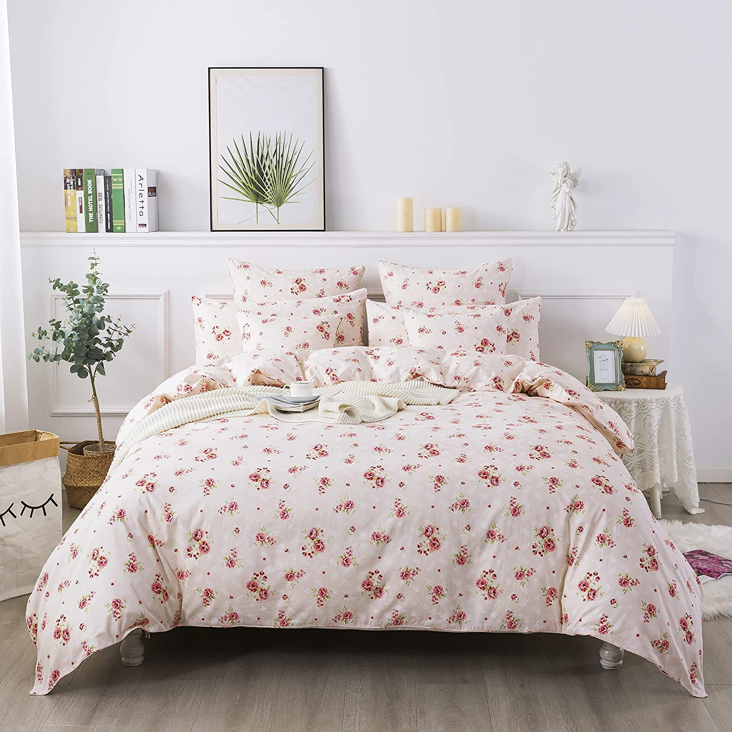 FADFAY Pink Rose Floral Duvet 35% OFF Cover Romantic Memphis Mall Flo King Shabby Set