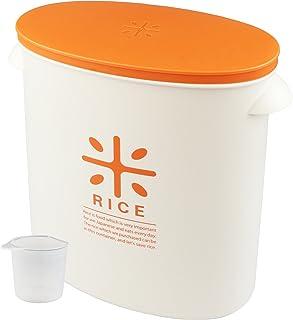パール金属 日本製 米びつ 5kg オレンジ 計量カップ付 お米 袋のまま ストック RICE HB-3435
