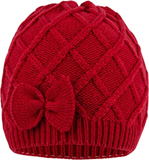 Criss Cross Knit Hat with Bow