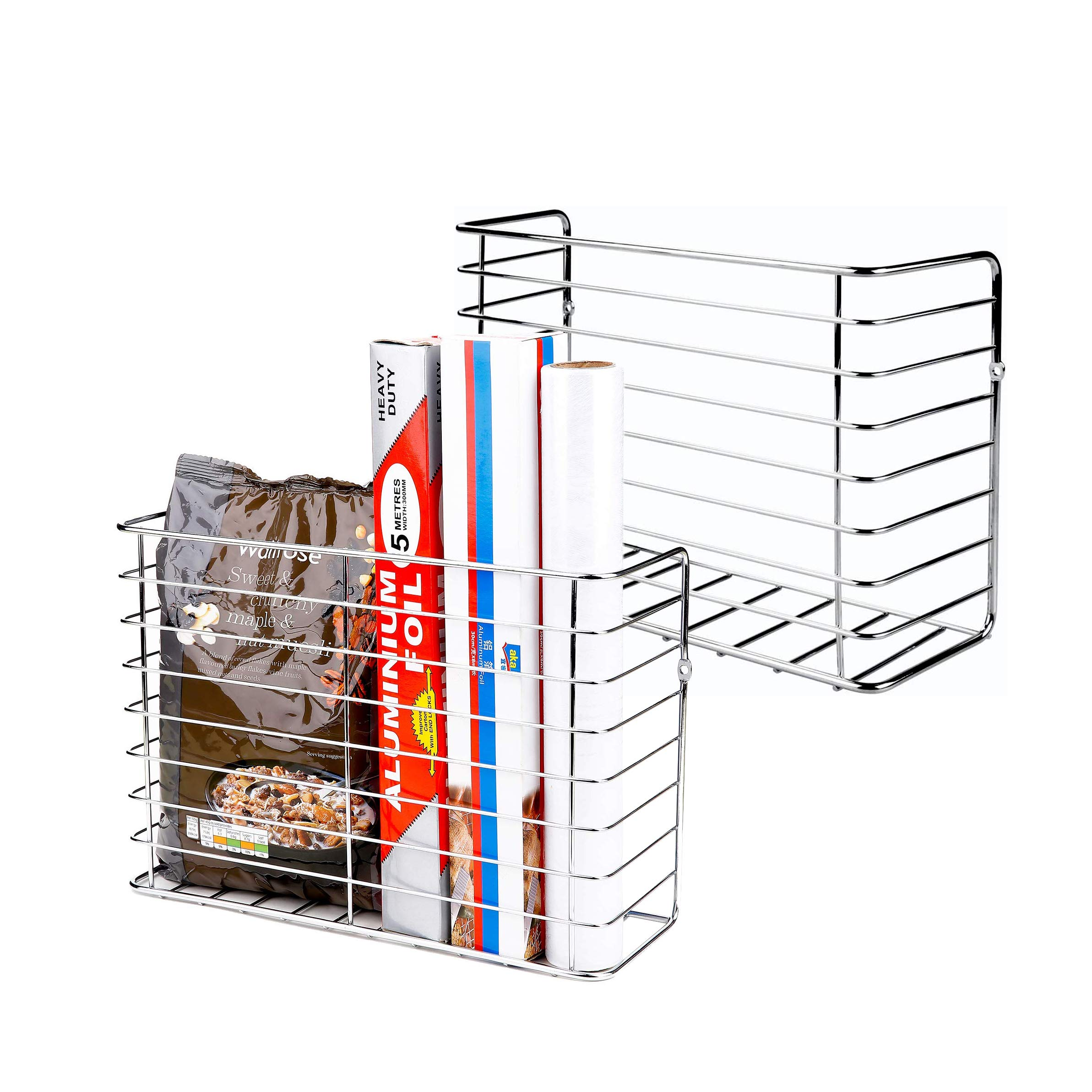 2 Pack Wall Door Mount Kitchen Wrap Organizer Rack Cabinet Door Pantry Door Wall Mount Kitchen Storage Organizer Basket Amazon In Home Kitchen
