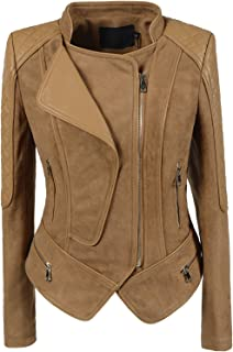 Women's Fashion Faux Suede-Pu Leather Quilted Biker Jacket