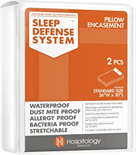 HOSPITOLOGY PRODUCTS Sleep Defense System - Zippered Pillow Encasement - Standard - Hypoallergenic Protector - Waterproof - Bed Bug & Dust Mite Proof - Set of 2-20