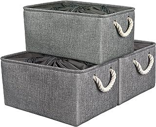 Boîte de Rangement avec Cordons Fermés, Grand Panier de Rangement Pliable 3 Pièces avec Poignées, Organisateur de Maison p...
