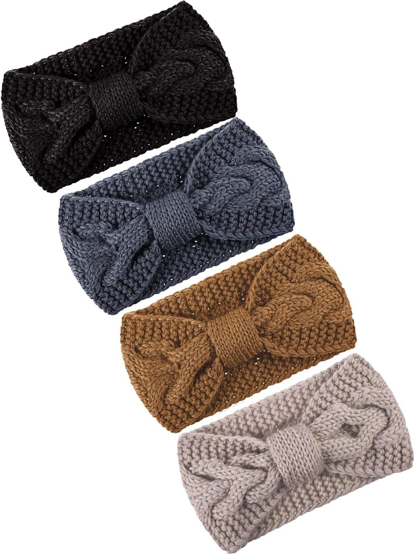 TecUnite 4 Pieces Chunky Knit Headbands Winter Braided Headband Ear Warmer Crochet Head Wraps for Women Girls (Color set 3)