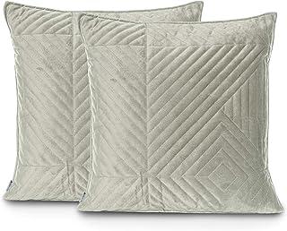 DecoKing 2 fundas de almohada 45 x 45 cm azul oscuro crema doble acolchado terciopelo Pascali
