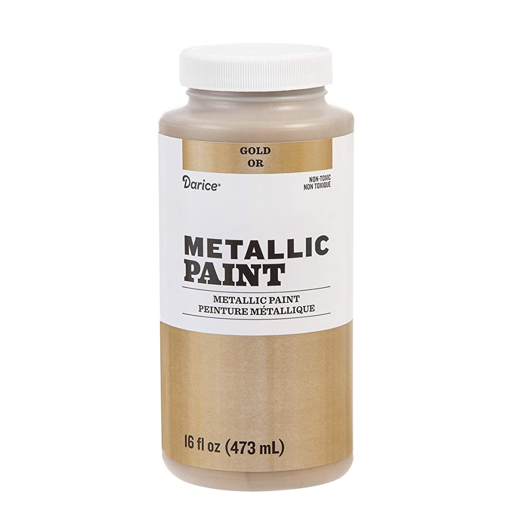 Darice 30063470 Metallic Paint: Gold, Acrylic, 16 Ounces