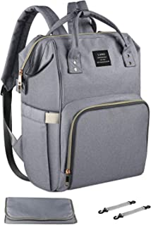 Land Diaper Bag Backpack for Baby, Mommy Daddy diaper bag and Large Capacity Multi-Function Waterproof Travel Nappy Bag Backpack with Changing Pad, Stroller Straps(Grey)