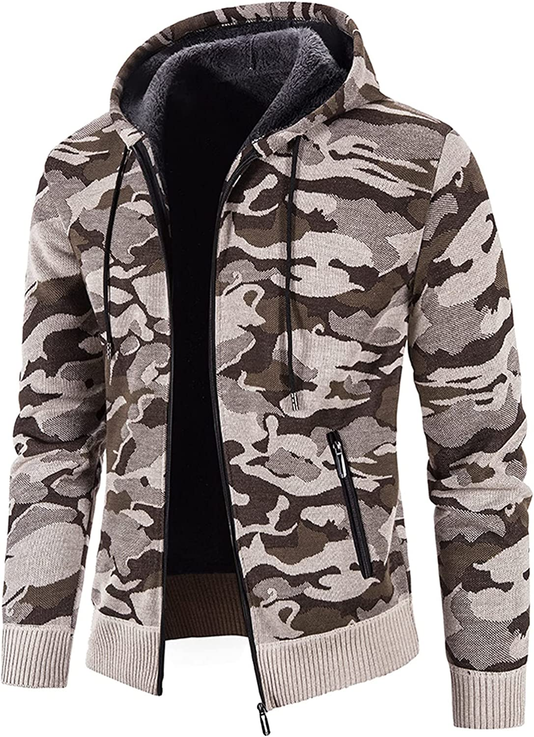 SSDXY Camouflage Hoodies Pullover for Men 2021,Casual Thicken Fleece Active Cardigan Jacket Zipper Hooded Coats Outwear