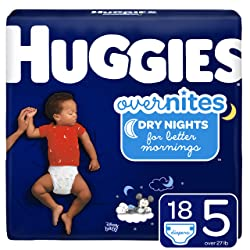 HUGGIES OverNites Diapers, Size 5, 18 ct., Overnight Diapers (Packaging May Vary)