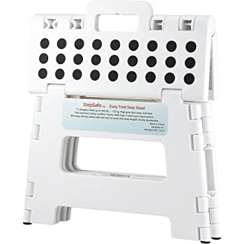 "StepSafe Non Slip Folding Step Stool For Kids and Adults with Handle- 9"" in Height, Holds up to 300 Lb! (white)"